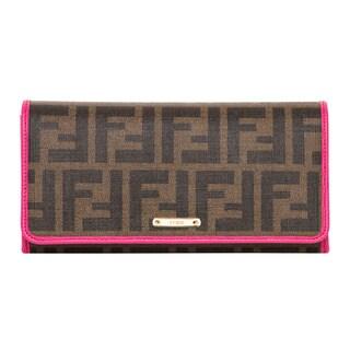 Fendi Zucca Pink Trim Continental Wallet