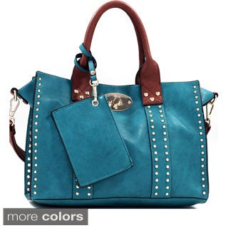 Studded Twist Lock Tote Bag with Change Purse