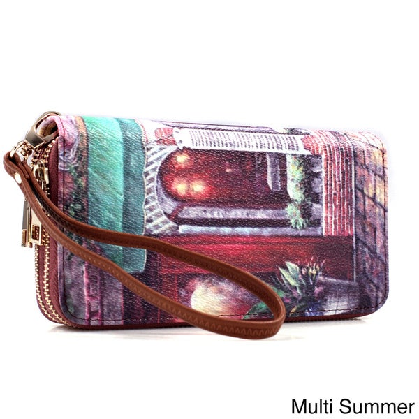 English Rose Print Zip-around Wallet with Removable Wrist Strap