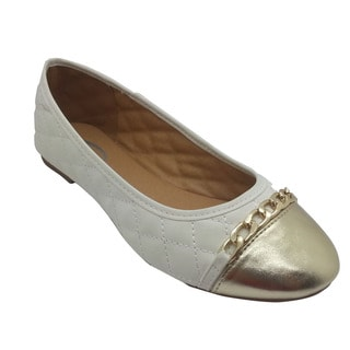 Women's Quilted Chain White Flat