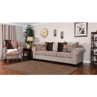Christopher Knight Home Devore Oversized Beige Fabric Sofa and Flash Word Track Arm Wing Chair