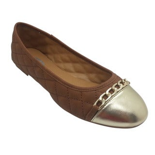 Women's Brown and Metallic Gold Quilted Flats
