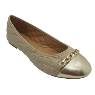 Women's Sand and Goldtone Chain-trim Flats