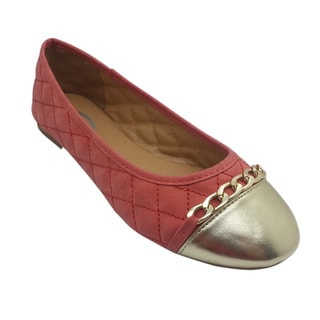 Women's Pink Quilted Chain-trim Flats