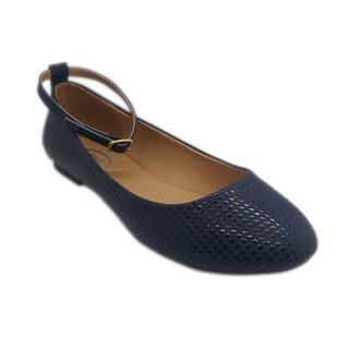 Women's Navy Ankle Strap Flat