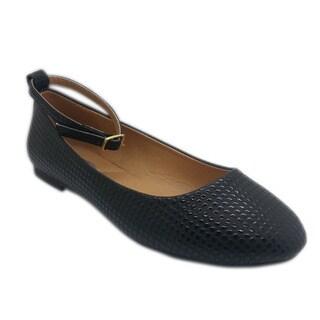 Wi-Fi Women's Black Ankle Strap Flats