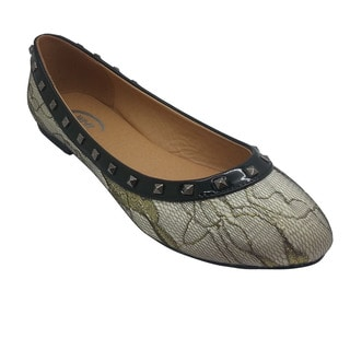 Wi-Fi Women's Stud and Lace Goldtone Flats