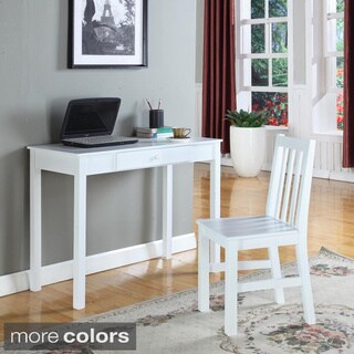 Painted Slat-back Wooden Desk Chair