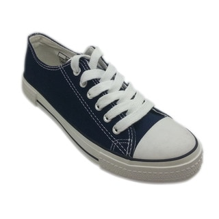 Women's Navy Canvas Lace-up Sneakers