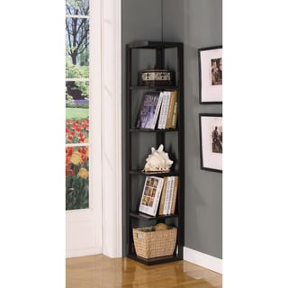 Walnut Finish Five-tiered Corner Book Case