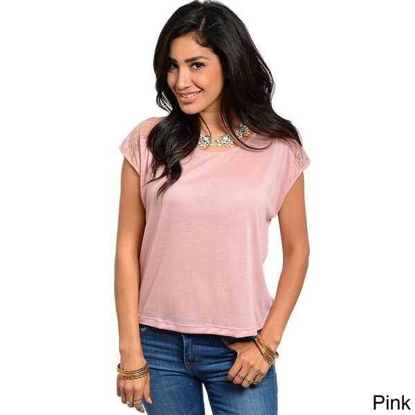 Shop The Trends Juniors Lace-yoke Lightweight Knit Top