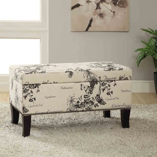 Linon Stephanie Botanical Beige Linen Fabric Ottoman Bench