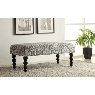 Linon Claire Grey Damask Fabric Ottoman Bench