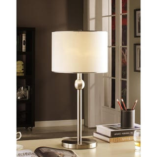 Brushed Nickel White Shade Modern Table Lamp (Set of 2)