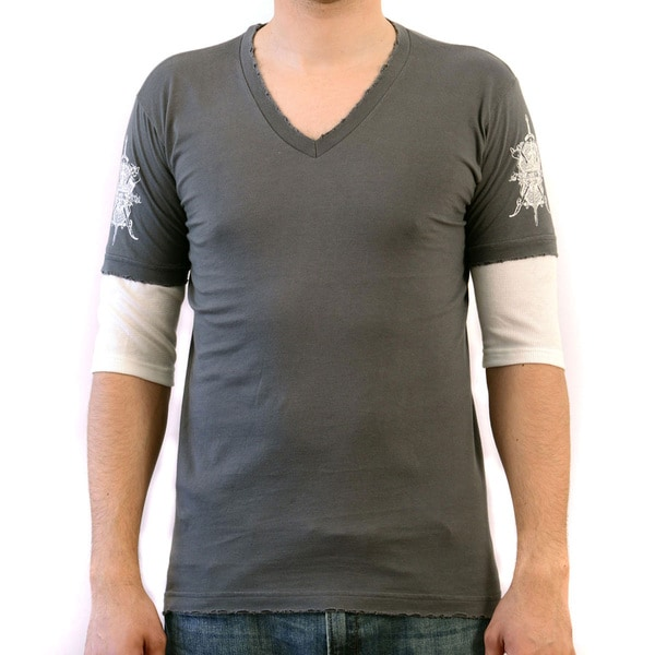 Hard 8 Men's 'Moss' Charcoal Double Layered T-shirt