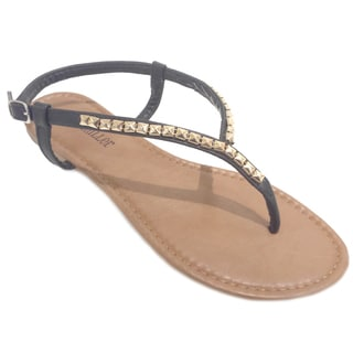 Olivia Miller Women's Pyramid Studded Y-Thong Sandals