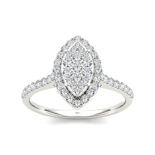 De Couer 10k White Gold 3/4ct TDW Diamond Marquise Shape Engagement Ring (H-I, I2)