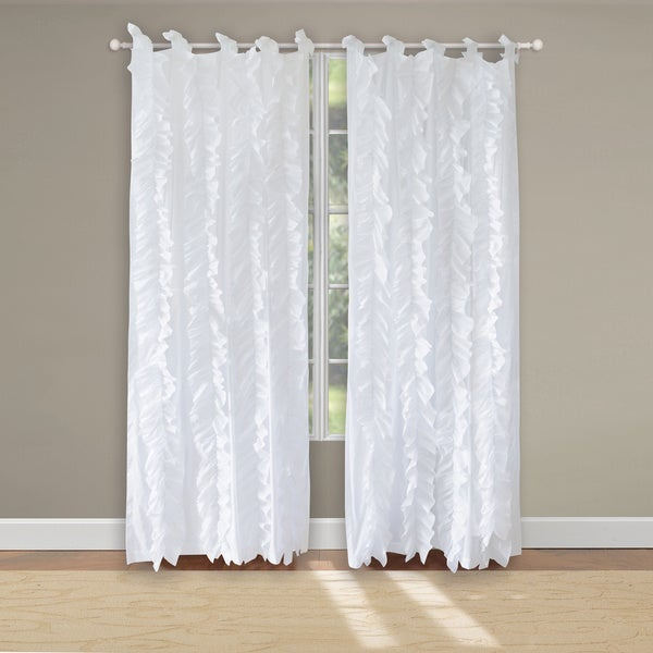 Greenland Home Fashions Waterfall Voile Cotton Pair of Tab Top Curtain Panels