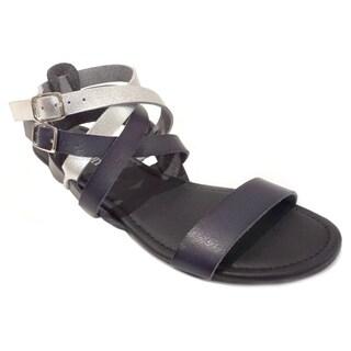 Olivia Miller Women's Raw-edge Veggie Dyed Gladiator Sandals
