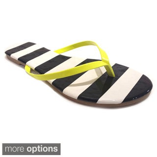 Olivia Miller Women's Neon Striped Sandals