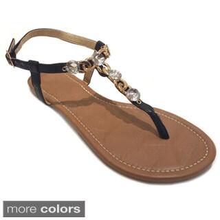 Olivia Miller Women's Rhinestone Chain Flat Sandals