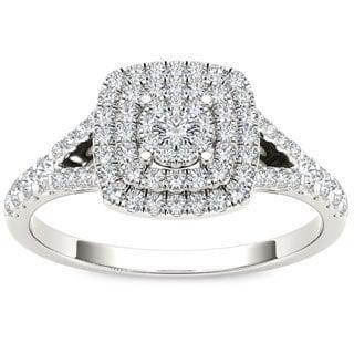 De Couer 10k White Gold 1/2ct TDW Diamond Cushion Shape Double Halo Engagement Ring (H-I, I2) with Bonus Necklace