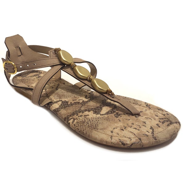 Olivia Miller Women's Gold Nugget Python Gladiator Sandals