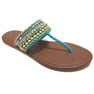 Olivia Miller Women's Multicolor Beaded Braid Sandals