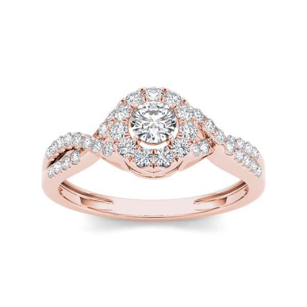 De Couer 10k Rose Gold 1 2ct TDW Diamond Engagement Ring H I I2 Overstoc