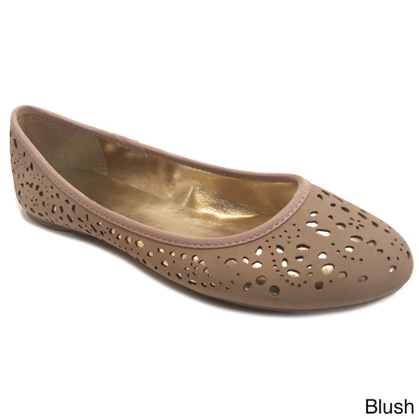 Olivia Miller Women's Cut-out Metallic Underlay Ballet Flats