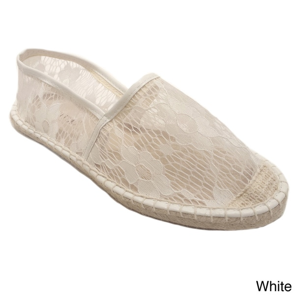 Olivia Miller Women's Floral Lace Espadrille Shoes