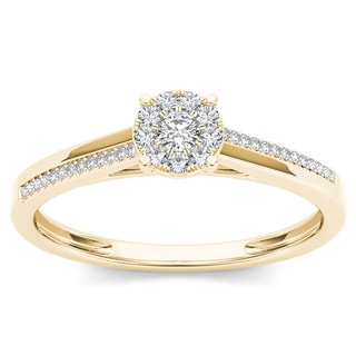 De Couer 10k Yellow Gold 1/6ct TDW Diamond Composite Engagement Ring (H-I, I2)