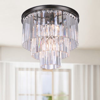 Justina 5-light Crystal Glass Prism 3-tier Flush Mount Antique Black Chandelier