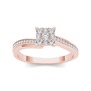 De Couer 10k Rose Gold 1/3ct TDW Diamond Squared Shape Engagement Ring (H-I, I2)