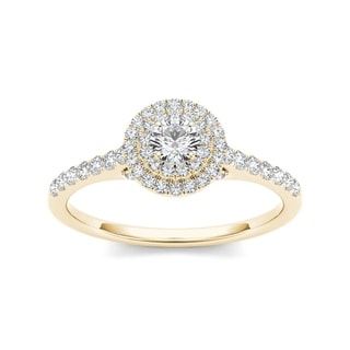 De Couer 10k Yellow Gold 1/2 ct TDW Diamond Double Halo Engagement Ring (H-I, I2)