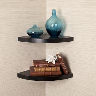 Black Veneer Corner Radial Shelves (Set of 2)