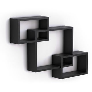 Intersecting Black Laminate Wall Shelf