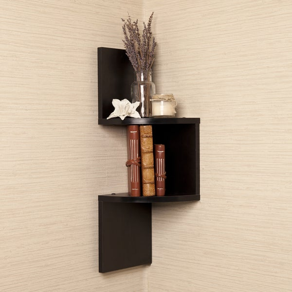Laminated Corner Shelf in Black Finish