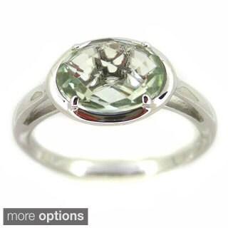 Kabella Sterling Silver Faceted Oval Prong Set Gemstone Ring