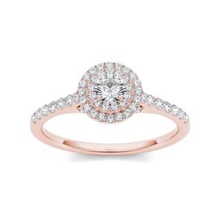 De Couer 10k Rose Gold 1/2ct TDW Diamond Double Halo Engagement Ring (H-I, I2) with Bonus Necklace