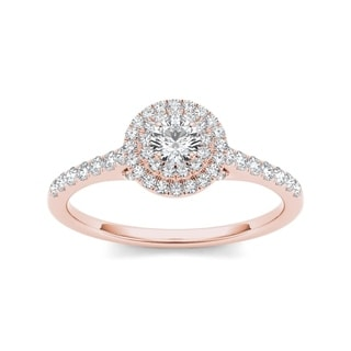 De Couer 10k Rose Gold 1/2ct TDW Diamond Double Halo Engagement Ring (H-I, I2)