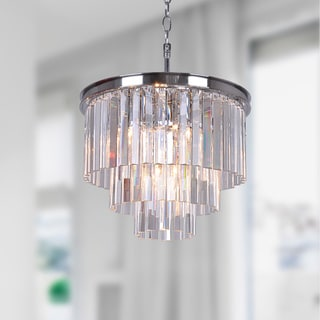 Justina 5-light Chrome 3-tier Chandelier with Crystal Glass Prisms