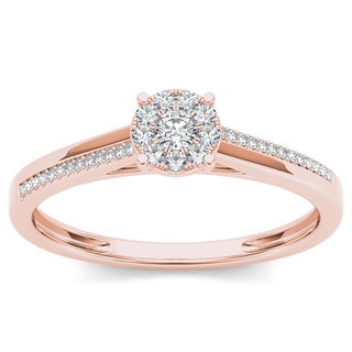 De Couer 10k Rose Gold 1/6ct TDW Diamond Composite Engagement Ring (H-I, I2)