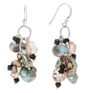 Kele & Co. Sterling Silver Green and Champagne Freshwater Pearl and Crystal Earrings