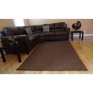 Hand-woven Brown Jute Dhurry Rug (5' x 8')