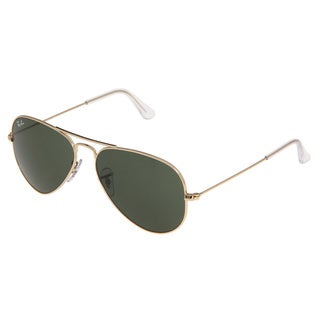 Ray-Ban Unisex RB3025 Arista/ Crystal Green Aviator Sunglasses