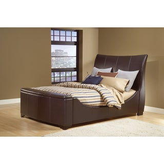 Justin Brown Leather Sleigh Bed Set