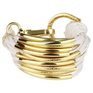 Saachi Multi Cord with Gold Tone Brushed Tube Beads Bracelet (China)