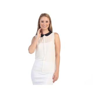 Hadari Women's White Collared Sleeveless Blouse