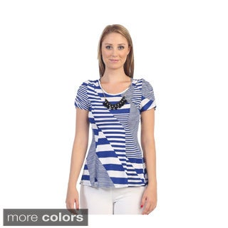 Hadari Women's Jagged Stripe Short-sleeved Top with Necklace